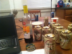 """The aftermath of the first """"official"""" Rawcast. Yes, that's a wine bottle being used as a spitter."""
