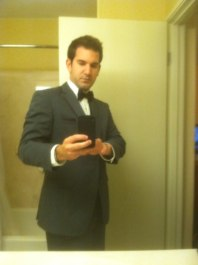Look, a selfie! And yeah, it's a tux - not a suit - but I still look damn good.